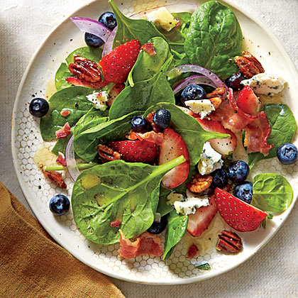 Spinach Salad with Honey Dressing & Honeyed Pecans -