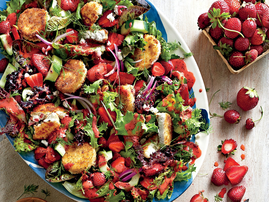 Strawberry Salad with Warm Goat Cheese Croutons -