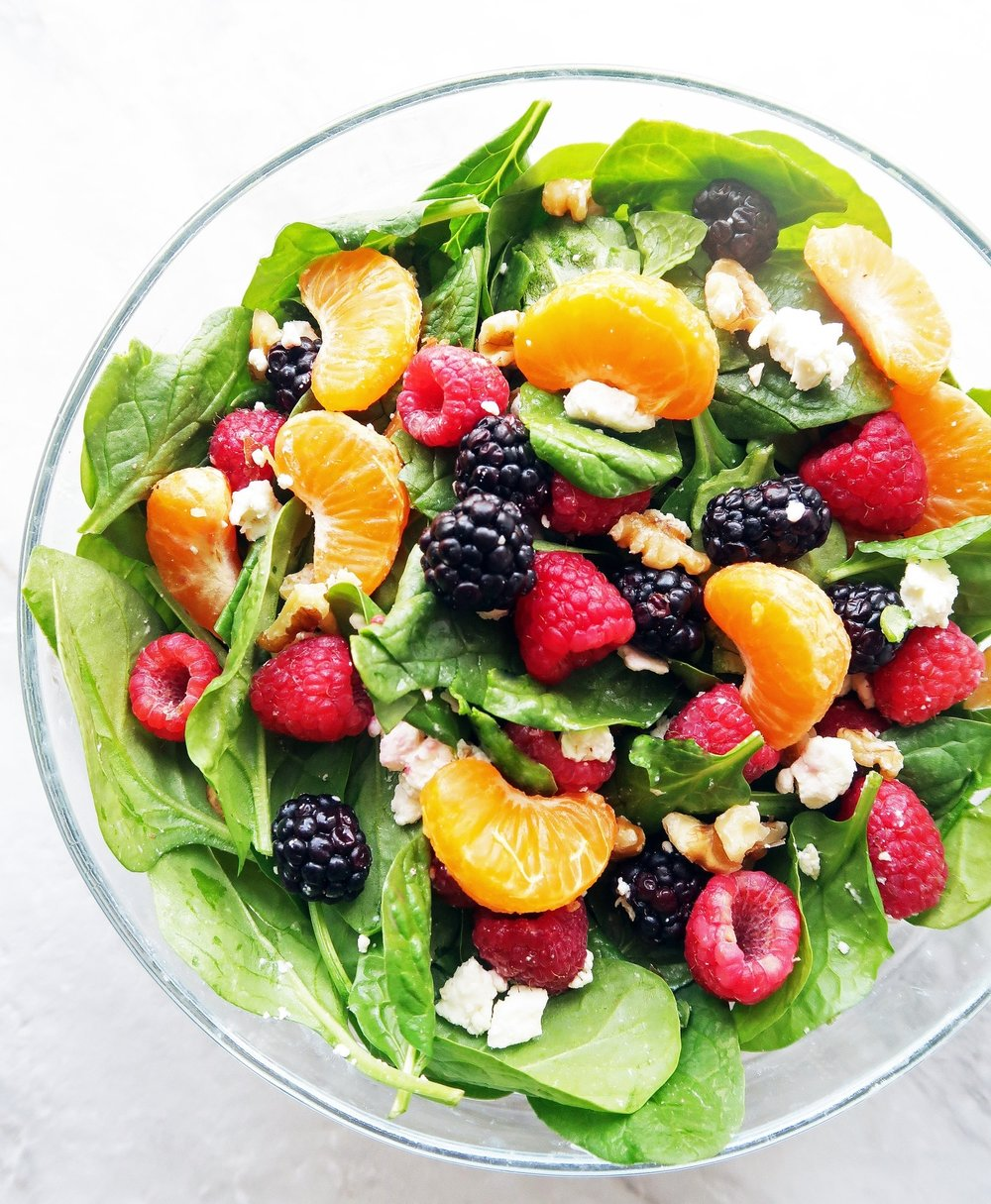 Berry Orange Spinach Salad With Citrus Balsamic Vinaigerret  -