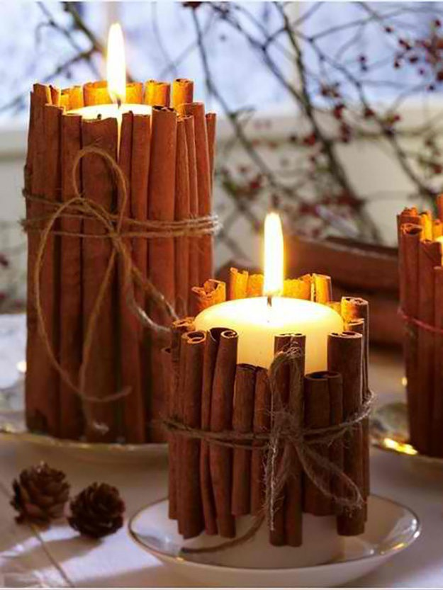 Wrap Candles With Cinnamon Sticks -