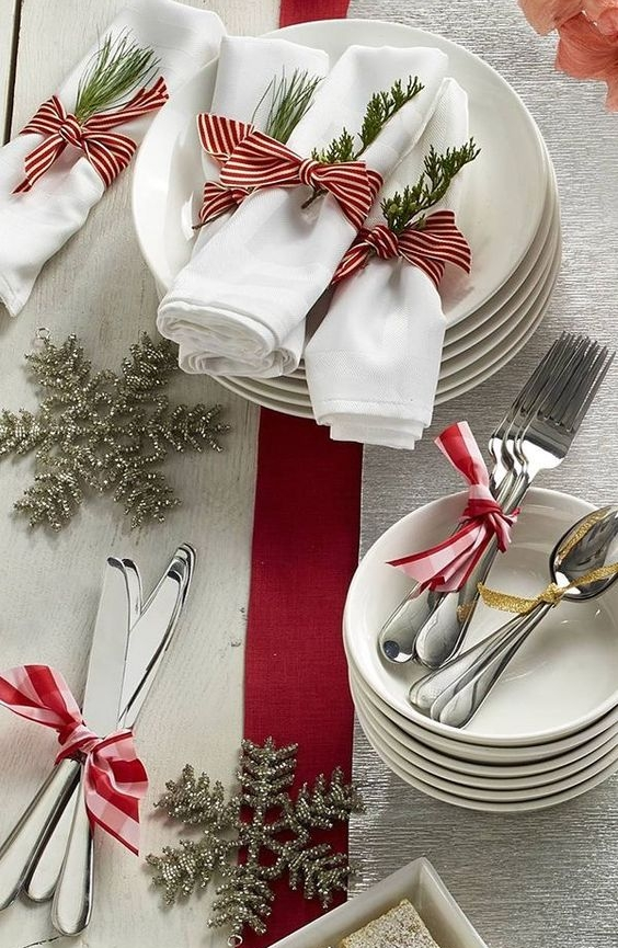 Add Ribbon  - Celebrating Christmas? Simply add red or green ribbon to the center of your dining table. Celebrating Hanukkah? Simply add blue or gold Ribbon.