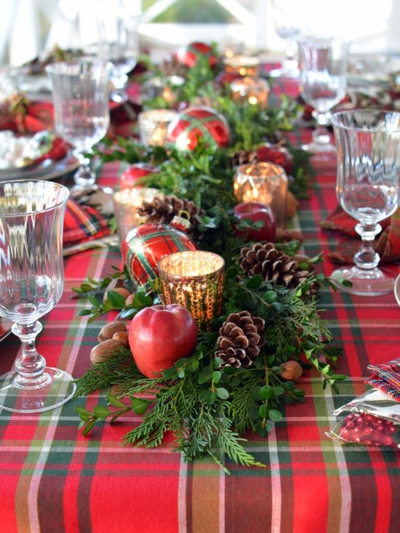 Simply Use Plaids, Apples, & Acorns - Get creative and use Christmas color fruit or nature to create a festive warm centerpiece.