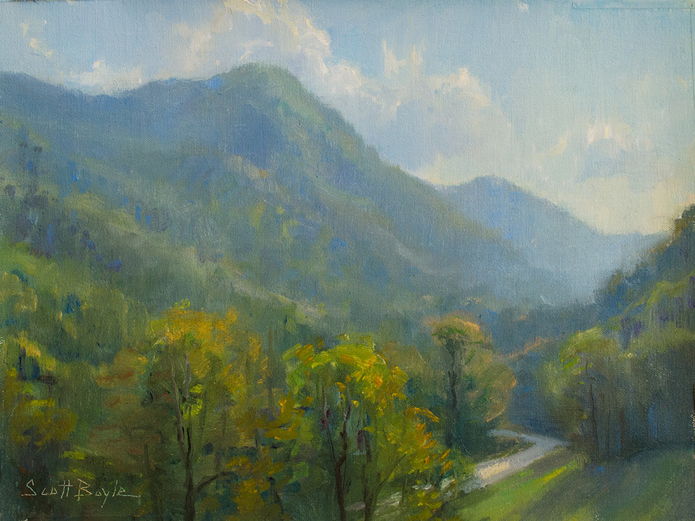 "Recent painting - 'View from the Gathering Place"" 12 x 16 oil -Chimney Rock, NC"