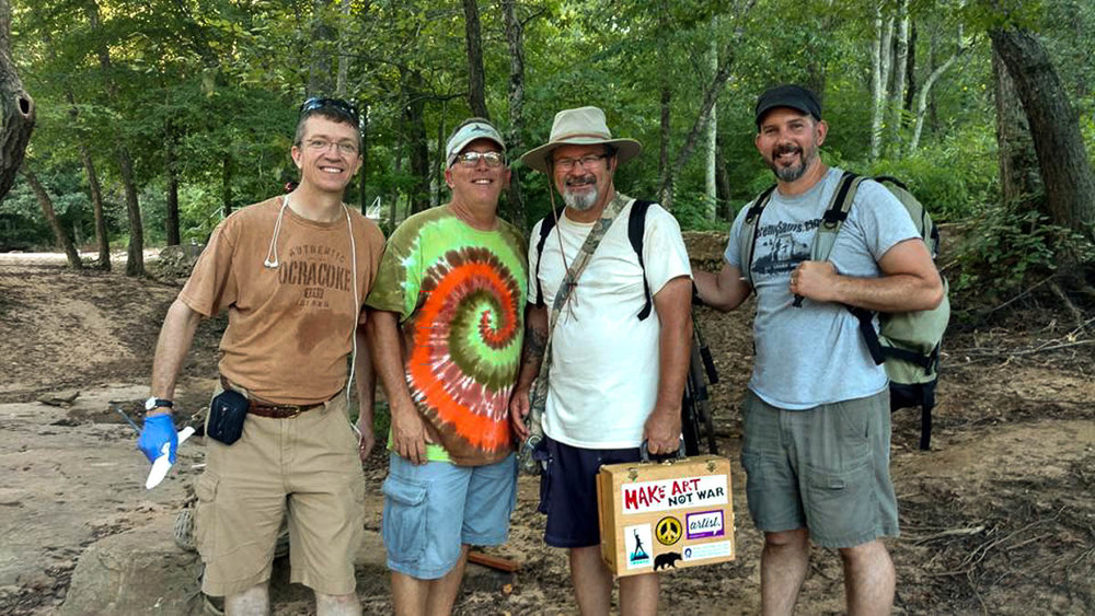 One of the greatest blessings of life is plein air painting with friends! Here are my good art buddies, Dean Remington and Bernie Rosage Jr. from Jacksonville, NC and Jeremy Sams from Archdale, NC.  For 3 days we got paint, laugh, and share meals together.  This was the 2nd Annual North Carolina Open plein air festival which ran Aug 12-14, 2016 and for the second year was held in Salisbury, NC.  This year there were 46 artists competing for 3 monetary prizes and 6 honorable mentions.