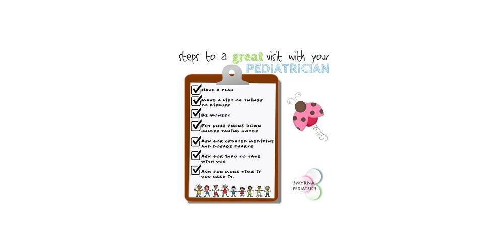 parent pediatrician checklist infographic