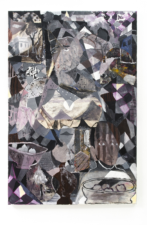 The Trouble with Justice, 2017, oil on collaged linen, 36 x 24 in