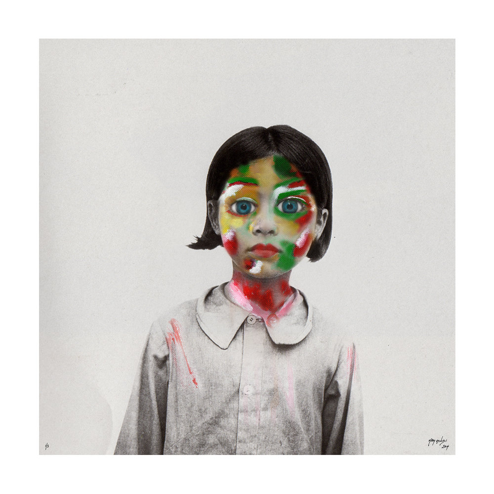 HUMAN SUFFERING AT TIMES OF CRISES Project    Little Girl In White   Human Suffering Series - 2014 edium: Acrylic Paint, Digital Art  (762x 762cm)