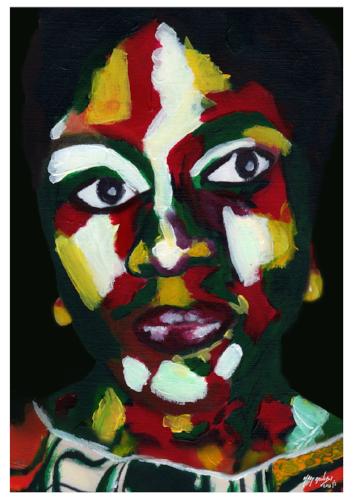 Robtel -  War  Size: 19x13 inch (with framed) Year:2016 Medium:Acrylic Paint, Digital Art