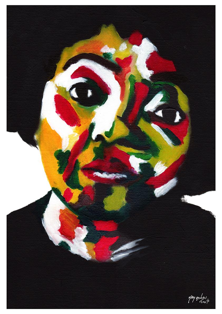 Ngozi - Acrylic Paint, Digital Art, 2016 Size: 29.7 x 42cm