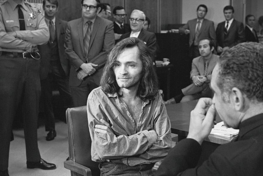 Charles Manson in court, 1970. Getty Images.