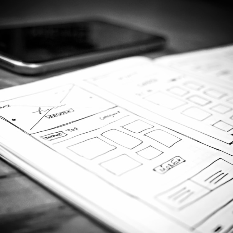 Digital product management UX sketches and concepts