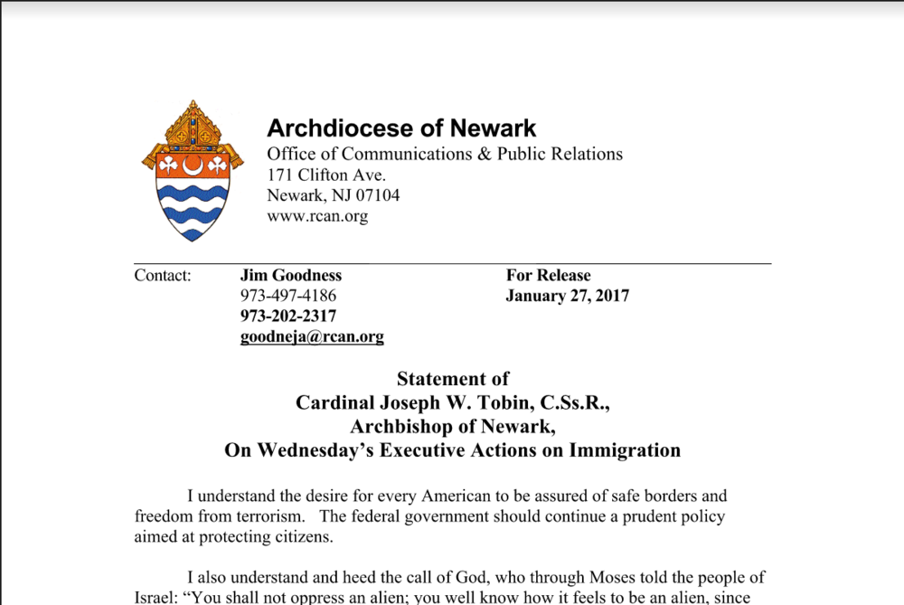 Newark Cardinal Issues Rebuke to Trump, as SOMA Refugee Resettlement Effort Moves Forward