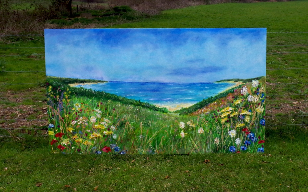 A very large commissioned painting, finished and ready to be hung as pride of place in it's new home.