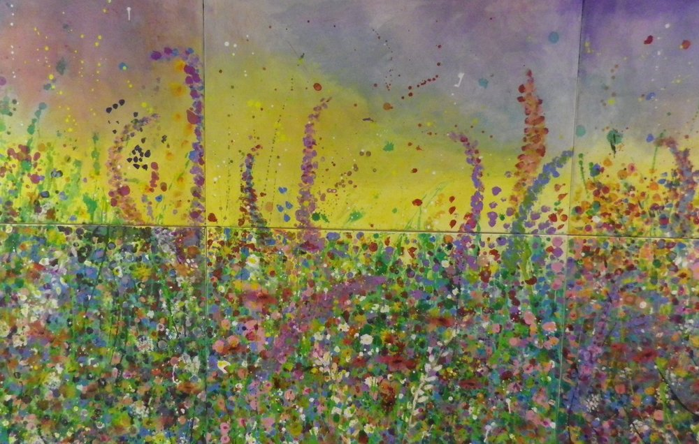 This large mural was created by 150 infants from Pilton Bluecoat's infant school to celebrate arts week. Taking their inspiration from one of Ruth's floral paintings.