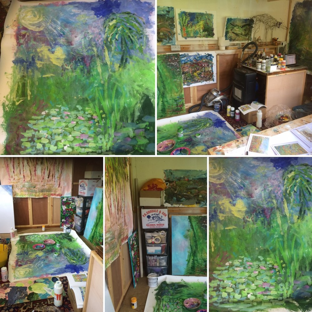 The large painting in situ! and a wonderfully full and vibrant studio awaiting visitors!