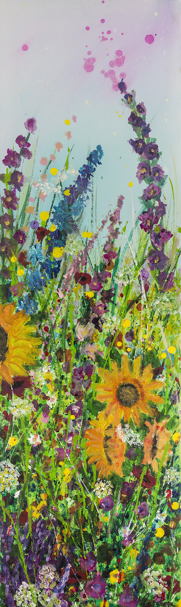 Sunflowers and foxgloves