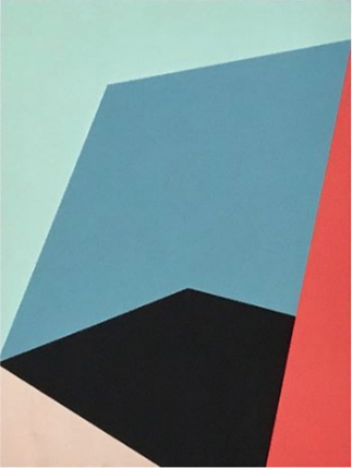 "Bauhaus 6  2018 12x9x1.5"" Flashe vinyl paint on Birch cradled panel"