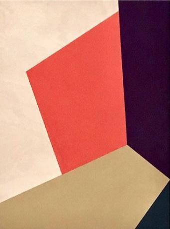 "Bauhaus 3  2018 12x9x1.5"" Flashe vinyl paint on Birch cradled panel"
