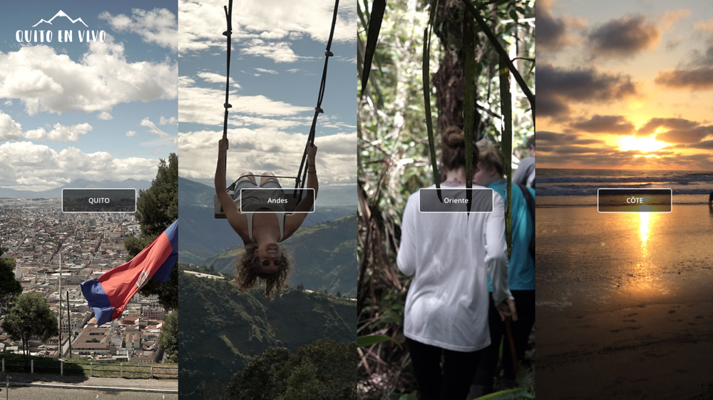 La page qui invite le visiteur à voyager à travers l'Équateur