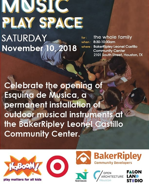 @bakerripley is excited to announce the showcase opening event of the Esquina de Musica this Saturday, November 10th at 8:30am at the Leonel Castillo Community Center. Please feel free to invite your network of partners, volunteers and families as we celebrate the installation of the outdoor music play space. RSVP your attendance by Friday November 9th!