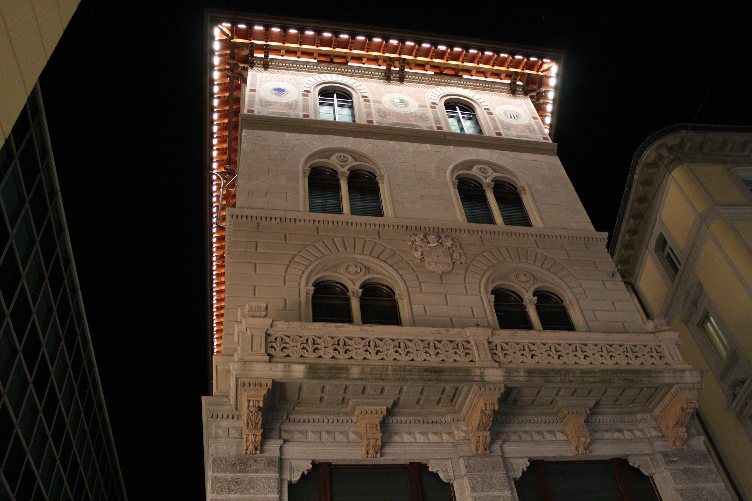 interestingly lit building