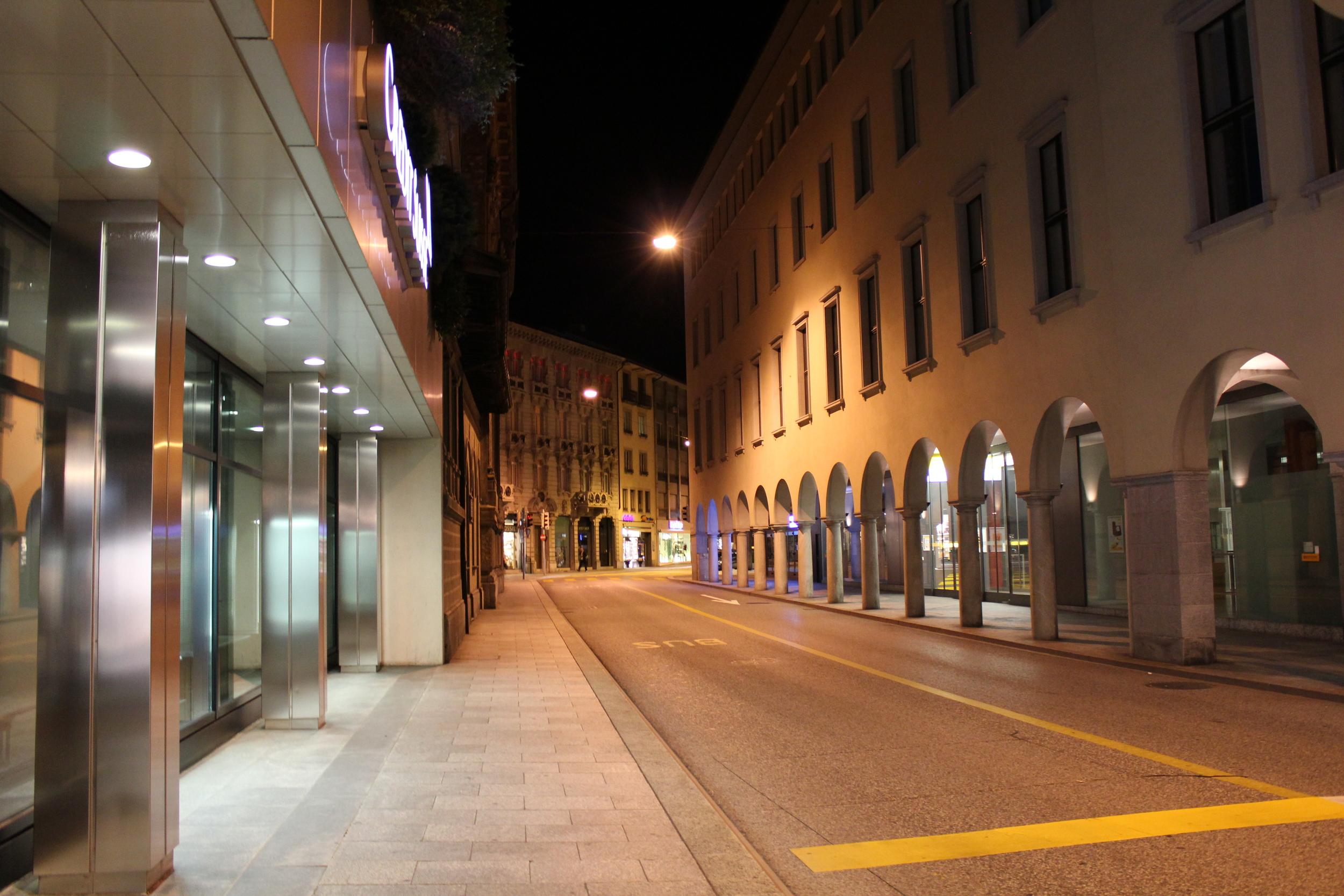 empty street of Lugano