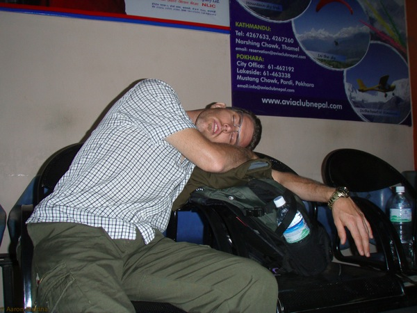 Ben napping at the airport in Pohkara