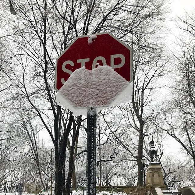 Stop sign loses snow pants. . . . #nycweather #snow #streetphotography #upperwestside #riversideparknyc #riversidepark