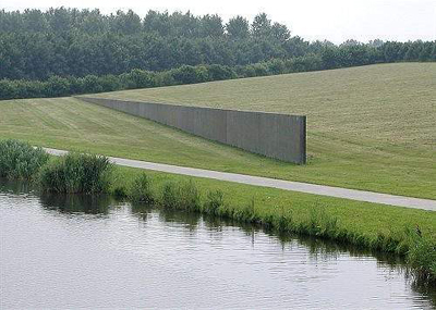 Sea Level by Richard Serra.  Zeewolde, De Wetering landscape park,   Flevoland, the Netherlands.  https://jeffleo.files.wordpress.com/2011/07/sea-level.jpg