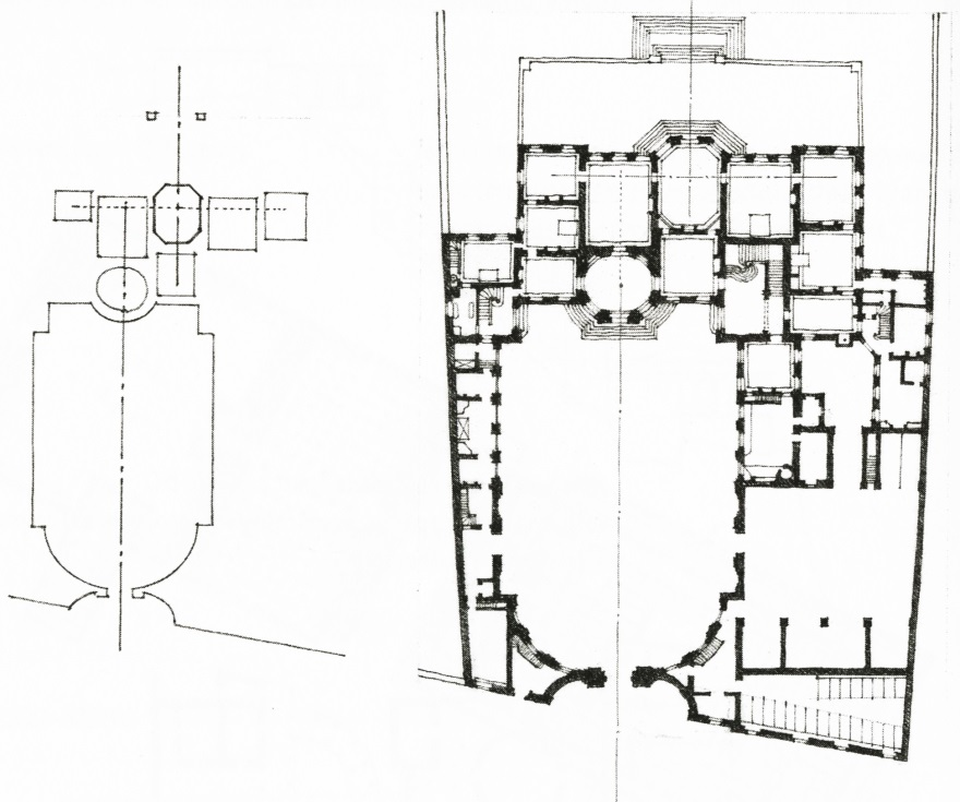 Axis Diagram (left), Plan (right), Hotel de Matignon by JCourtonne