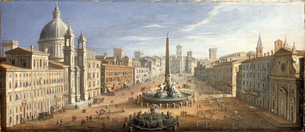View of Piazza Navona, Rome, Italy, by Hendrik Franz van Lint. c. 1730.