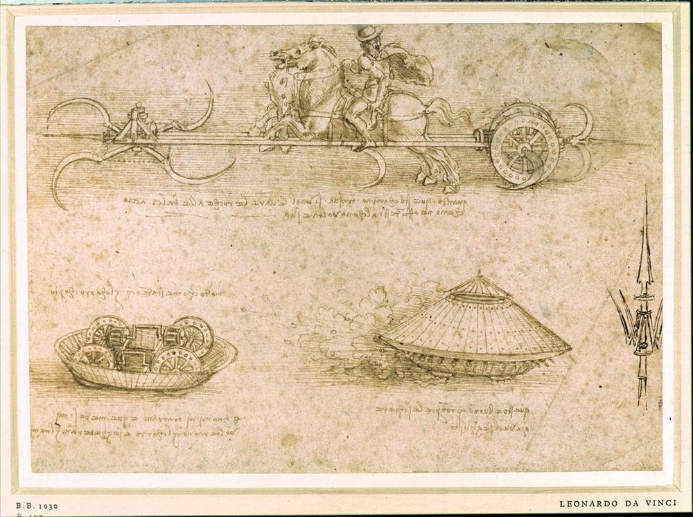 Da Vinci, Leonardo. Military Machines. c. 1947. Drawing.  British Museum, London, United Kingdom . ArtStore. Web. 04-04-2017.