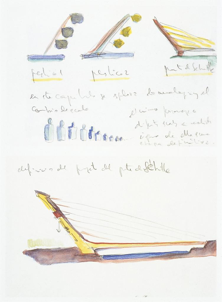 Calatrava, Santiago.  Seville: Alamillo Bridge: preliminary sketches . 1987-1992. Watercolor. University of California, San Diego. ARTstore. Web. 04-04-2017.