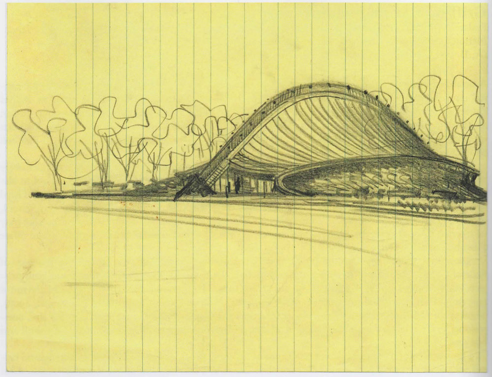 Eero Saarinen.  David Ingalls Rink perspective study . c. 1953. Dark pencil on yellow notebook paper. Yale University Library Archives, New Haven, CT.  Architects' Drawings: A Selection of Sketches by World Famous Architects Through History . Amsterdam: Elsevier/Architectural, 2005.  178. Print.