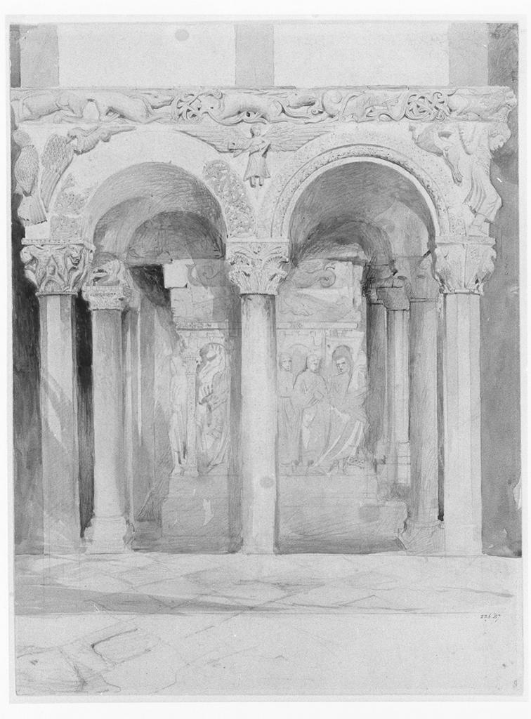 Ruskin, John.  End view of the pulpit in the church of S. Ambrogio, Milan . Date?. Drawing. Victoria and Albert Museum, London, United Kingdom. ARTstore. Web. 04-05-2017.