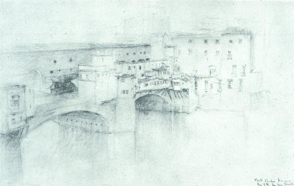 Ruskin, John.  Florence: Ponte Vecchio. . 1882. Pencil on paper, over graphite on gray paper. University of California, San Diego. ARTstore. Web. 04-05-2017.