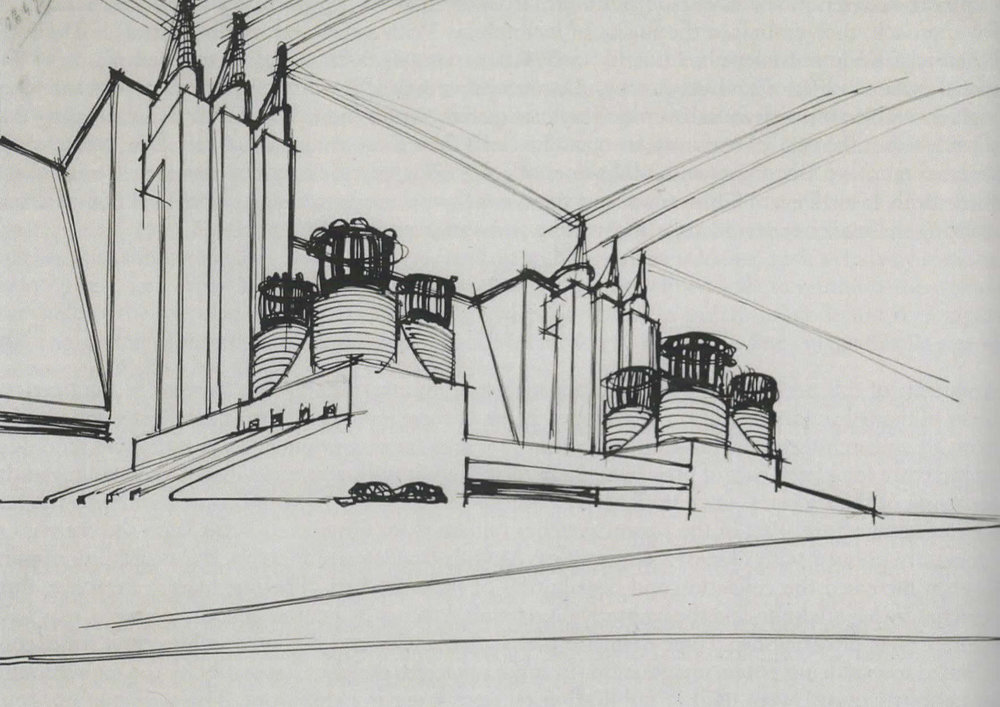 Sant'Elia, Antonio.  Study for a power station . 1913. Ink on Paper: Musei Civici de Como, Italy.  Architects' Drawings: A Selection of Sketches by World Famous Architects Through History . Amsterdam: Elsevier/Architectural, 2005.  144. Print.