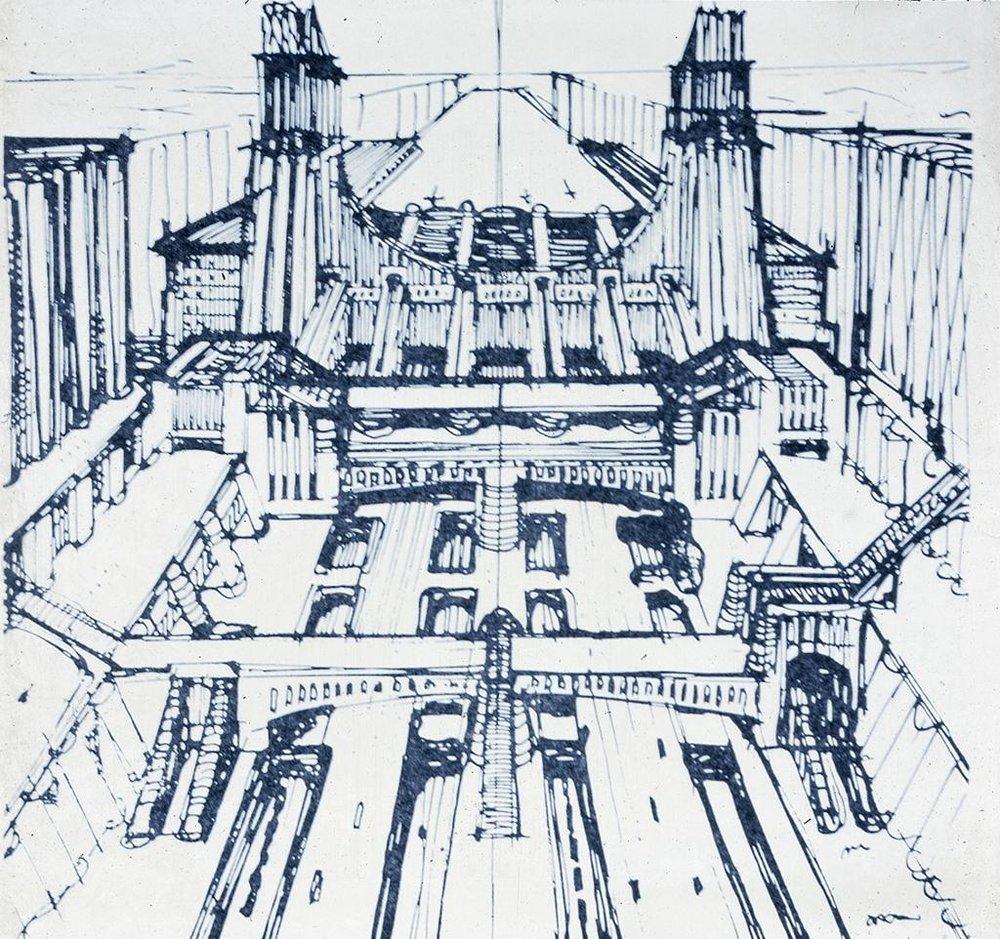 Sant'Elia, Antonio,Milan: Aeroplane Station Sketch rebuilding Milan Central Station.1912. Drawing.Data From: University of California, San Diego. ARTstore.Web. 04-12-2017.