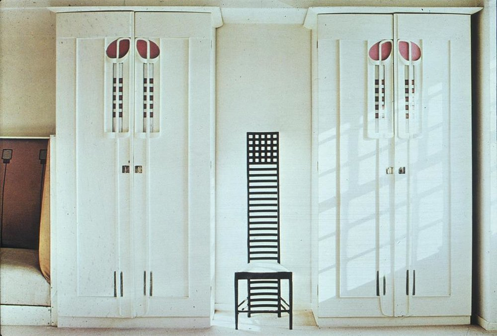 Mackintosh, Charles Rennie. Helensburgh:  Hill House Int.: Master Bedroom: det.: wardrobes & chair.  1903. University of California, San Diego.  Artstor. Web. 02-22-2015.