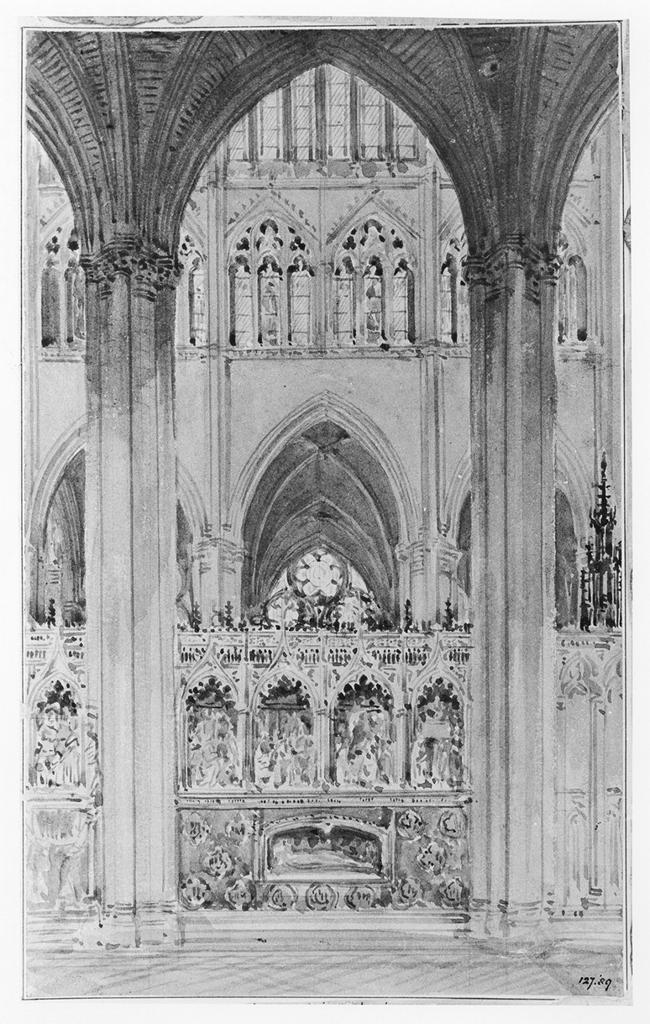 Pugin, Augustus Welby Northmore.  Choir aisle, Amiens Cathedral  .  Victoria and Albert Museum, London, United Kingdom ,  Artstor. Web. 05-09-2017.