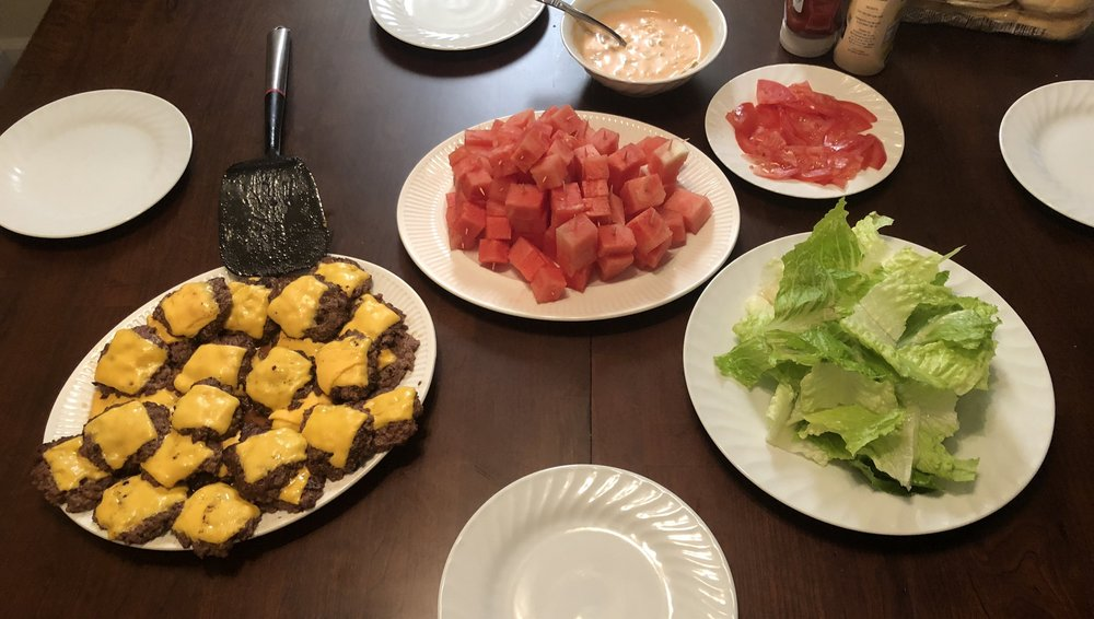 """Dinner! Our fruit """"kebabs"""" ended up only being watermelon because we were lazy, and we composted all the wooden toothpicks!"""