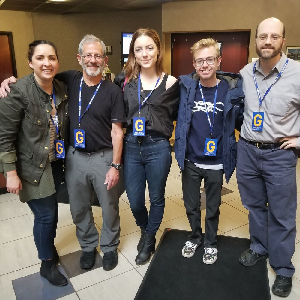 [From left to right] Rebecca Delaney Johnson, Festival Director with Festival Founder Dr. Andy Stern and 2018 Selected Filmmakers.
