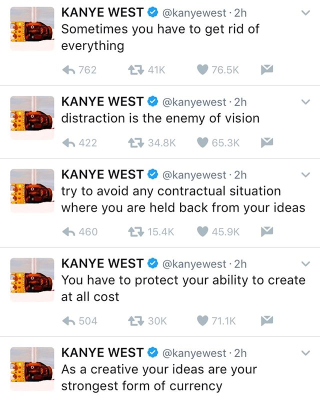 The GOAT #KanyeWest coming through with big facts and major #MondayMotivation today. Love it. ~💯🐐💯