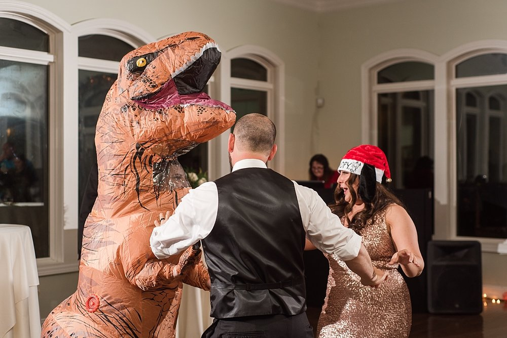 You truly have not lived until you have a dancing dinosaur at your wedding reception!