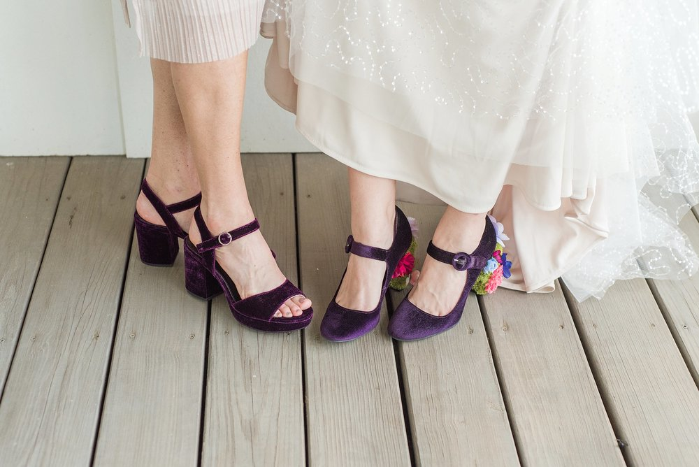 "Sydney and you mom had the cutest matching shoes! And Sydney's ""something borrowed"" was from me! The little white flowers in her hair are the same ones I wore at my wedding. So fun!"
