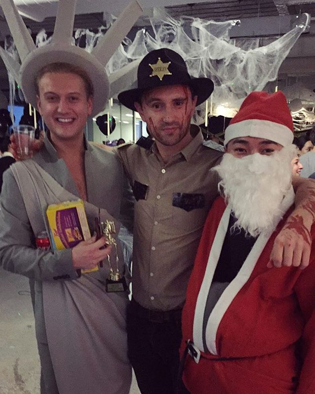 Happy Halloween from rick, Santa and lady liberty #thewalkingdead #rickgrimes #usa #saatchi #latergram
