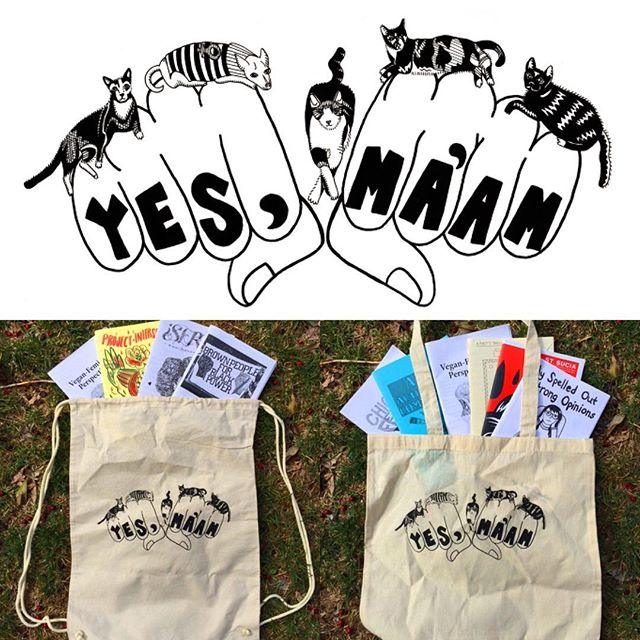 @yesmaam_zine is totes selling #totes #stringybackpacks and #patches ! Go to our site in our bio and click on #merch ! #feministcats #feministchihuahuas #yesmaamzine #feministzine #zines