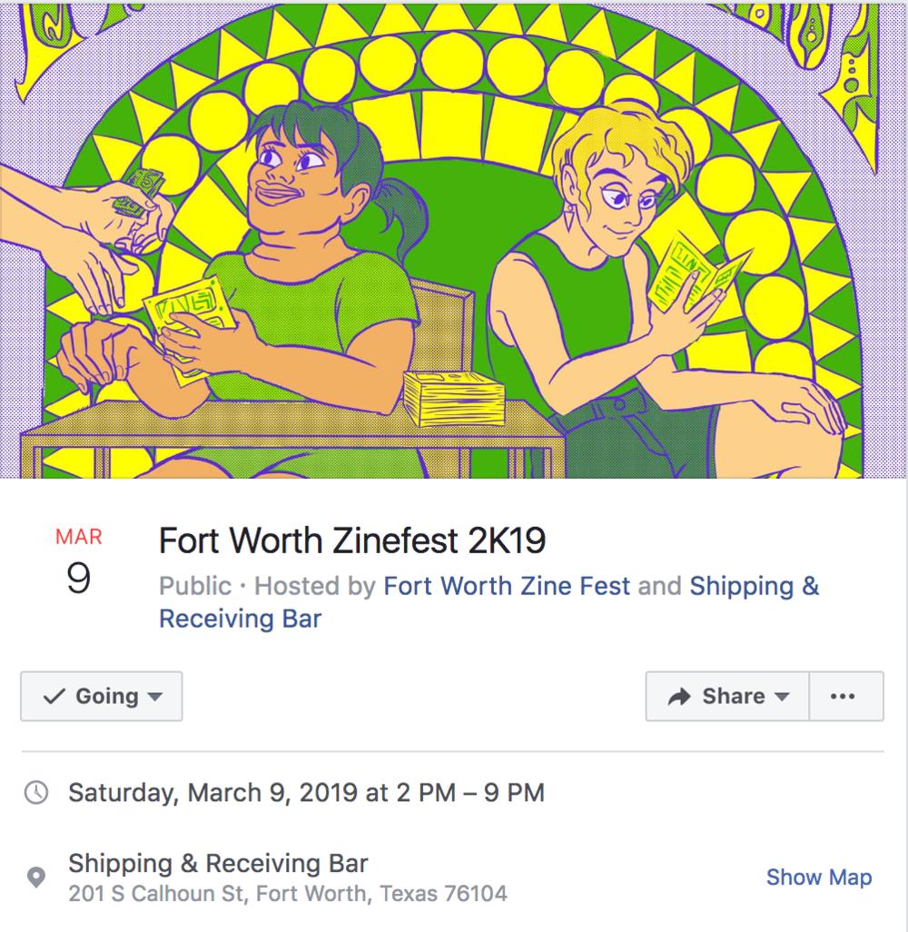 Events - NYC Feminist Zine Fest, March 31, 2019Fort Worth Zine Fest, March 9, 2019State of the Uterus, January 25, 2019St. Sucia Zine Release, January 5, 2019Zine Fest Houston, November 17, 2018San Anto Zine Fest, October 20, 2018NWA Zine Release, September 22, 2018Lone Star Zine Fest, September 2, 2018Babes Fest, September 1, 2018Yes, Ma'am Zine Release, July 27, 2018NYC Feminist Zine Fest, March 25, 2018Fort Worth Zine Fest, March 3, 2018Latino Comics Expo, February 3-4, 2018