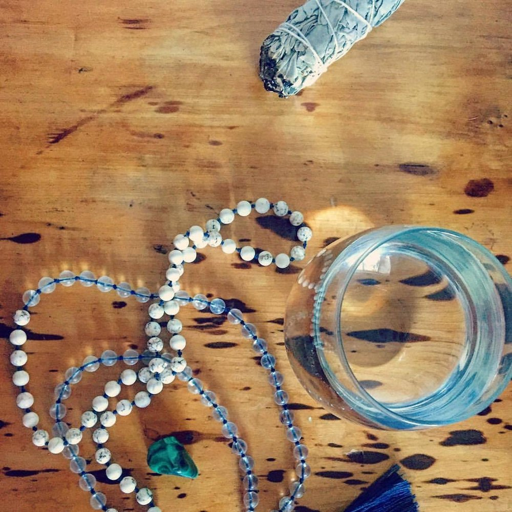 bundle of white sage; my howlite & crystal quartz wedding mala; malachite; H2O