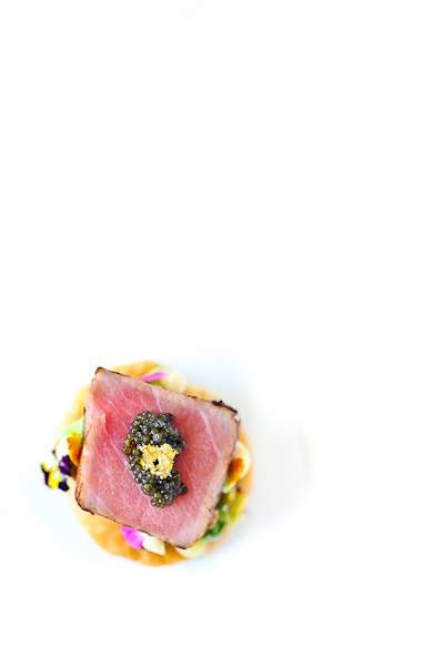 Smoked Tuna Tataki encapsulated in Walnut Smoke